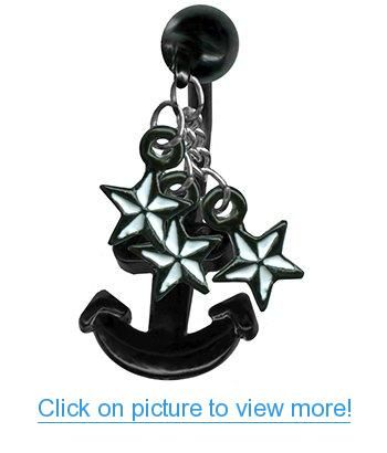 Black Anchor Belly Ring-Black Anchor with Nautical Stars Navel Ring-14 gauge