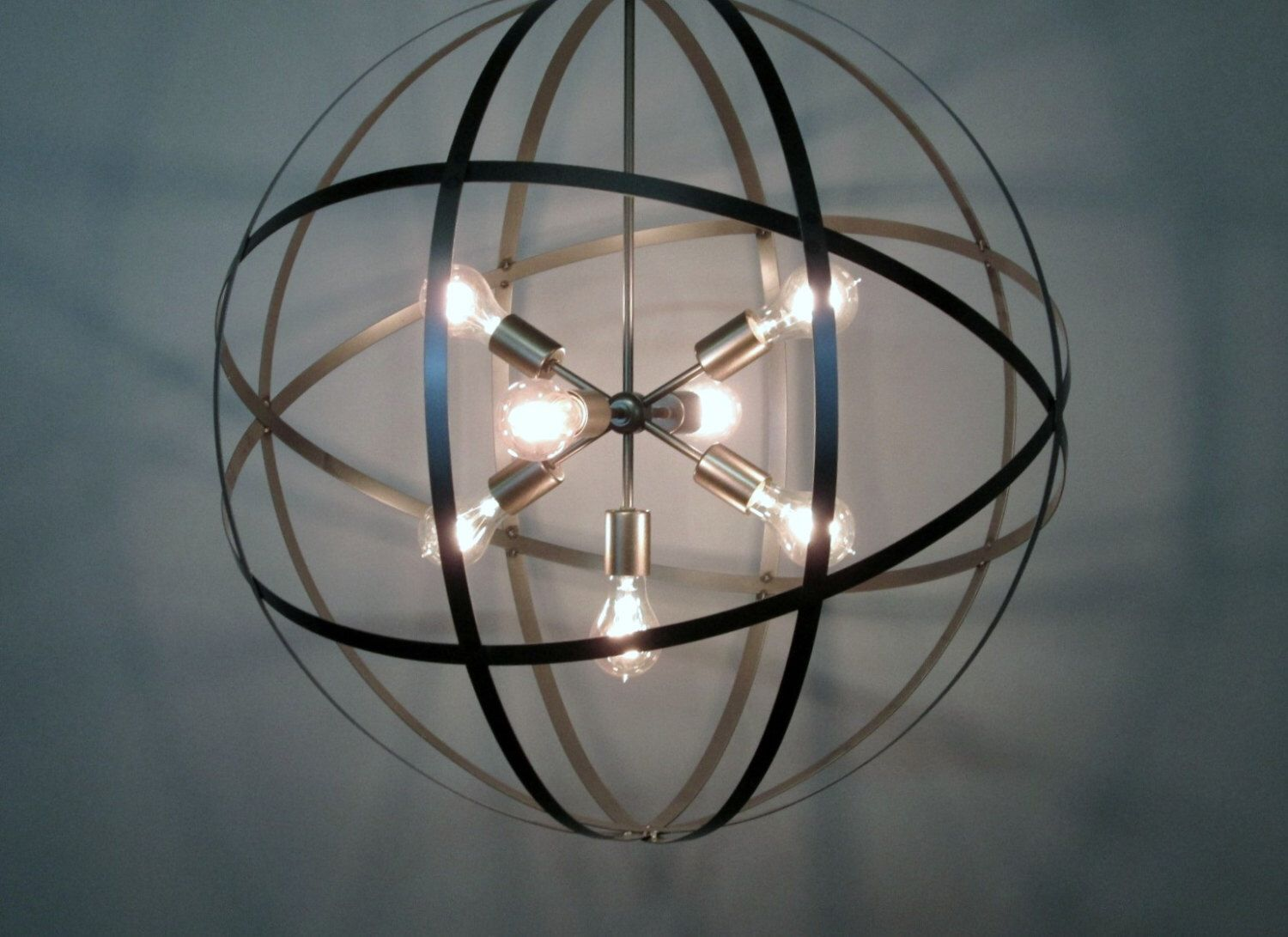 Industrial steel strap 30 inch orb ceiling light sphere wine barrel industrial steel strap 30 inch orb ceiling light sphere wine barrel ring 7 light 70 arubaitofo Images