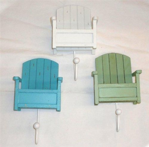 Set of 3 Towel Hooks - Beach Chair Design - Overall Hook Is 8 - sillas de playa