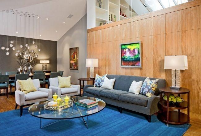 retro einrichtungsstil wohnzimmer holz verkleidung glas couchtisch, Innenarchitektur ideen