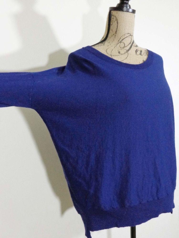 ART TO WEAR Eileen Fisher sweater lagenlook top artsy blue Italian yarn sz S #EileenFisher #BoatNeck