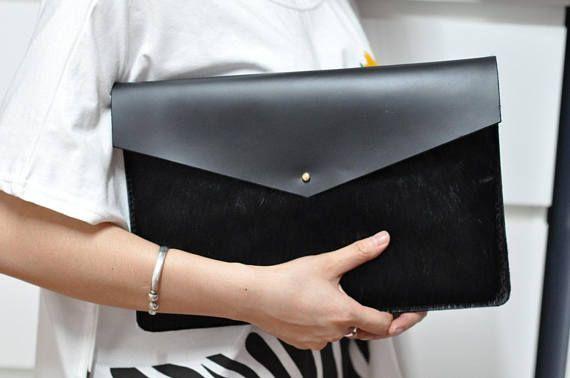 Leather MacBook Pro 13 2017 Laptop Bag Color Black