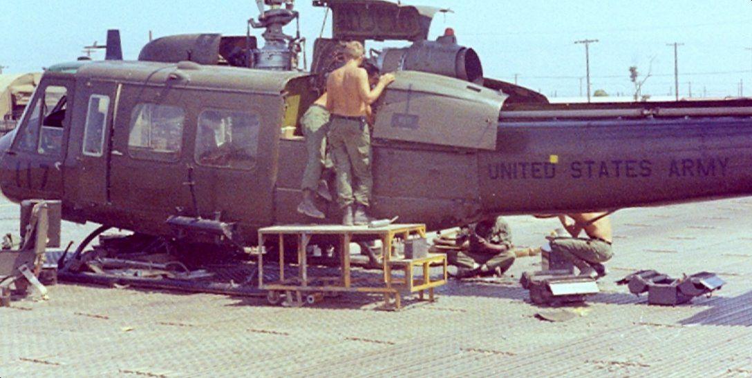 Maintenance on a US Army Huey, Dong Ba Thin, Vietnam 1967.