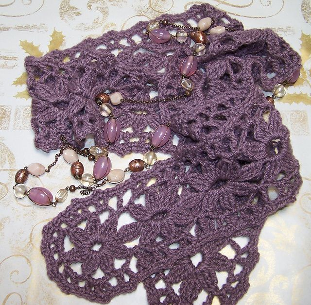 Pretty Floral Lace Scarf Free Pattern Crochet Love Pinterest
