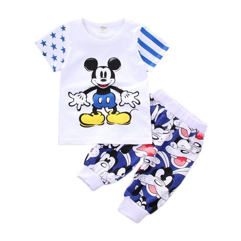 ac62d44304cab Kids boys summer clothes Girls Clothing Sets 2019 New Mickey Mouse ...
