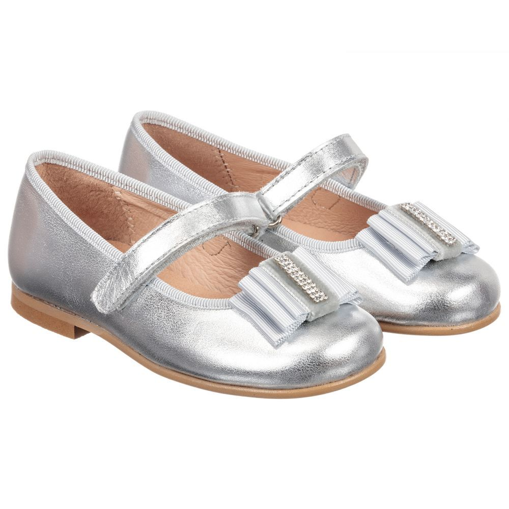 3571bf650dae1 Silver Leather Shoes for Girl by Children s Classics. Discover more  beautiful designer Shoes for kids online