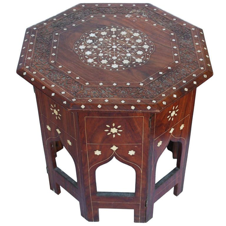 Anglo Indian Octagonal Tabouret Side Table With Bone Inlay | From A Unique  Collection Of Antique