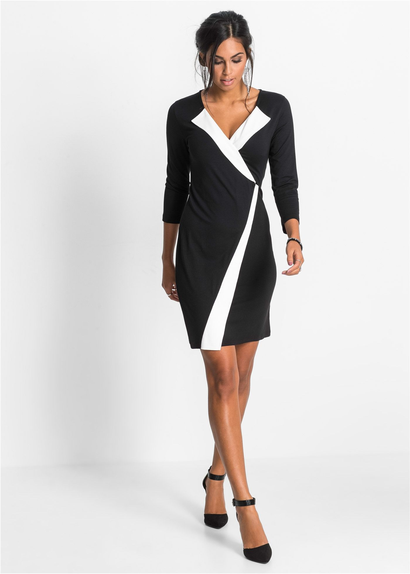 Commandez maintenant Robe jersey noir/blanc cassé - BODYFLIRT à partir de  32,99