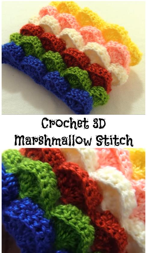 Crochet 3d Marshmallow Stitch Crochet Ideas Pinterest