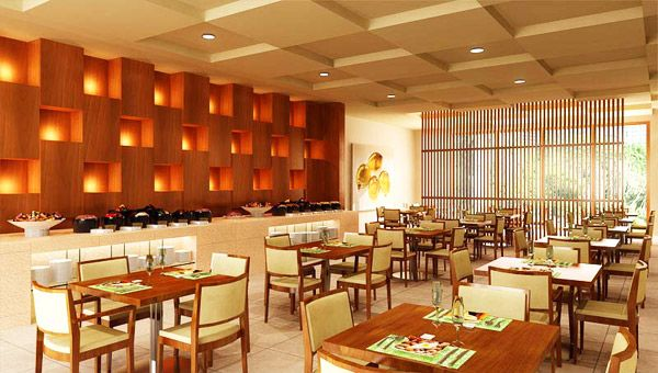 Small restaurant interior design ideas with bamboo wall for Small restaurant design ideas