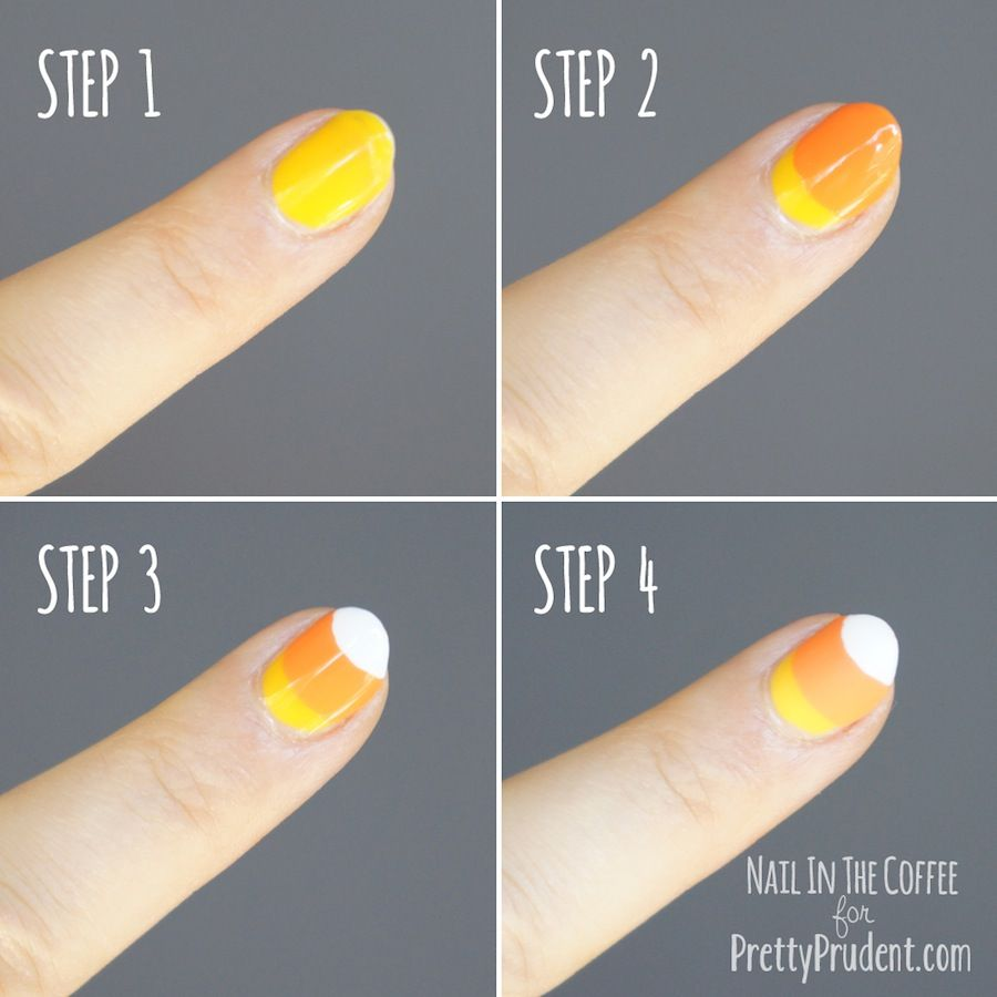 Candy Corn Nail Tutorial Pretty Prudent Halloween Nail Art Tutorial Candy Corn Nails Halloween Nails Easy