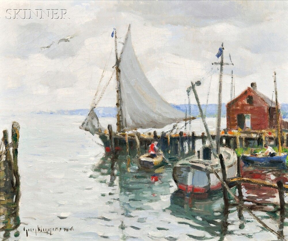 """The Friendship Sloop and Lifting Skies,"" Guy Carleton Wiggins, Oil on canvas, 20 x 24"", Private collection."