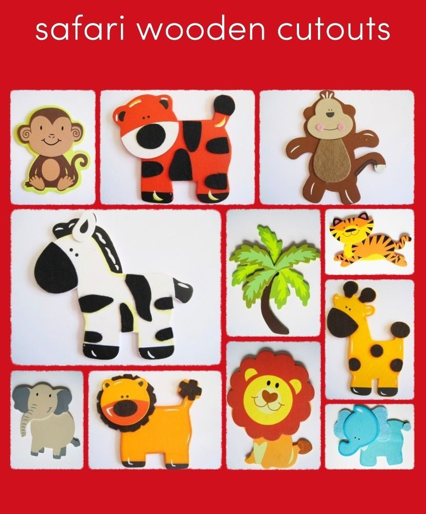 Safari Jungle Animal Wooden CUT OUTS Crafts Diaper Cakes NEW