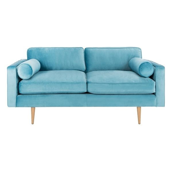 Sensational Shop Safavieh Couture Nyla Cerulean Blue Velvet Sofa With Gmtry Best Dining Table And Chair Ideas Images Gmtryco