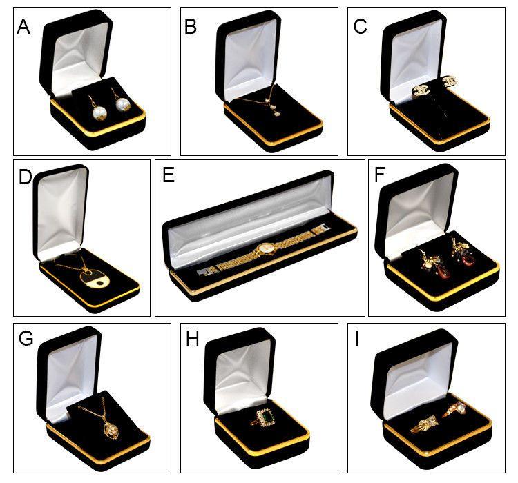 MultiPurpose 168165 Black Velvet Jewelry Gift Boxes Gold Band
