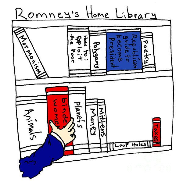 Romney's Home Library. Complete with Binder of Women.  #toomanywives