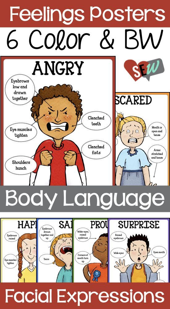18 Feelings Posters: Body Language and Facial Expressions for 18 ...