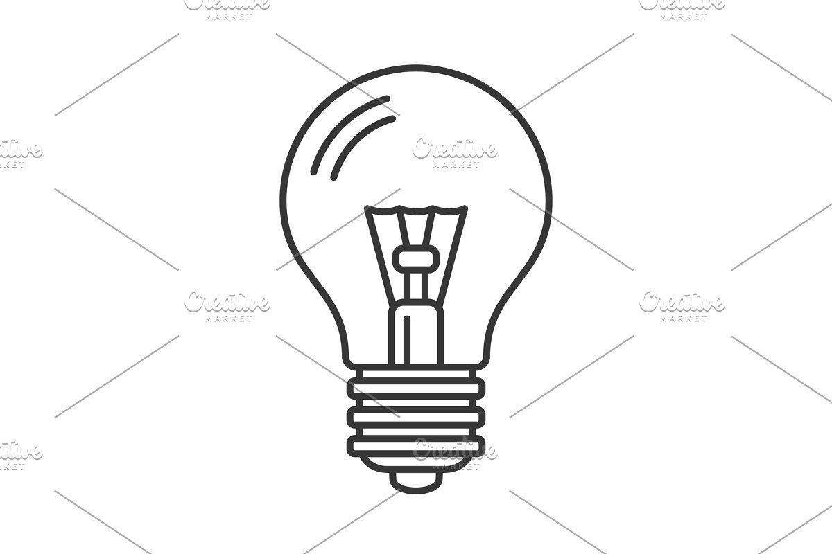 Electric Light Bulb Icon Line Style Light Bulb Icon Icon Set Icon