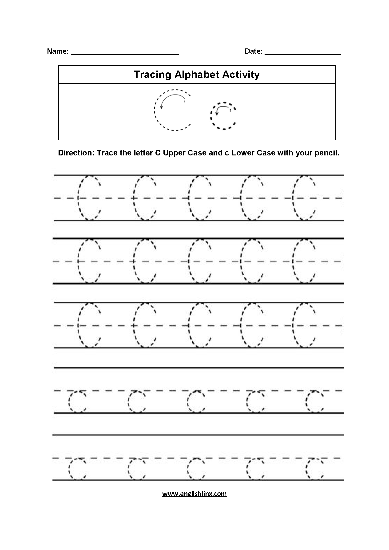 Letter C Tracing Alphabet Worksheets With Images
