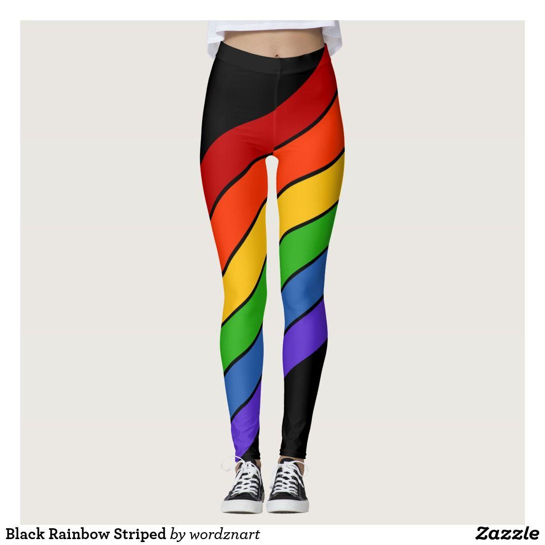 ebe5286f30d76 Black Rainbow Striped Leggings | Zazzle.com in 2019 | lgbt | pride ...