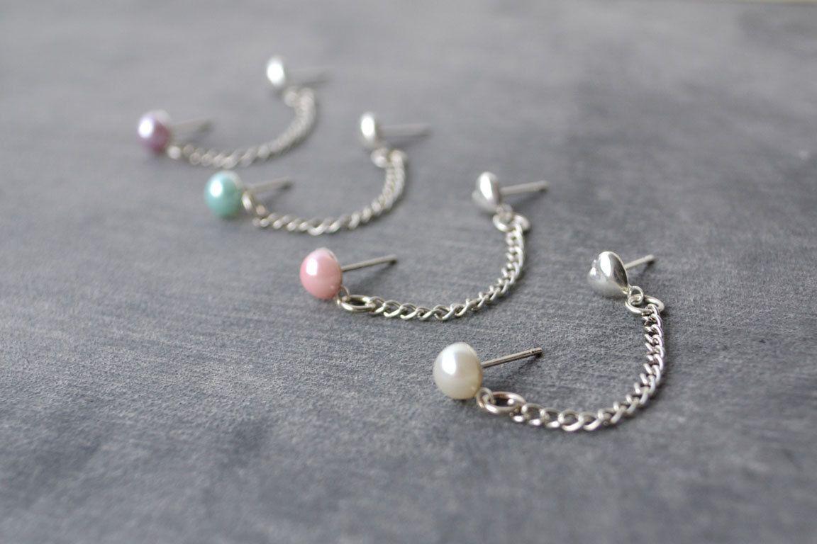 Second ear piercing ideas  Pearl Double Lobe Pierce Earrings Set of   Earrings  Pinterest