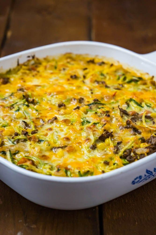 Cheesy Zucchini Bake With Corn And Ground Beef Recipe Cheesy Zucchini Beef Casserole Recipes Dinner With Ground Beef