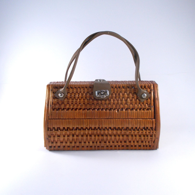 Wooden Bag Vintage Woven Straw Willow Handbag