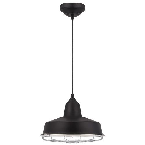 Features:  -Industrial design.  -Black finish.  -Includes an integrated LED powered by 15 Hi-efficiency 1.07W LED chips, 16 watt maximum.  -ETL/CETL listed.  -Chrome cage.  -Energy saving: Yes.  Fixtu