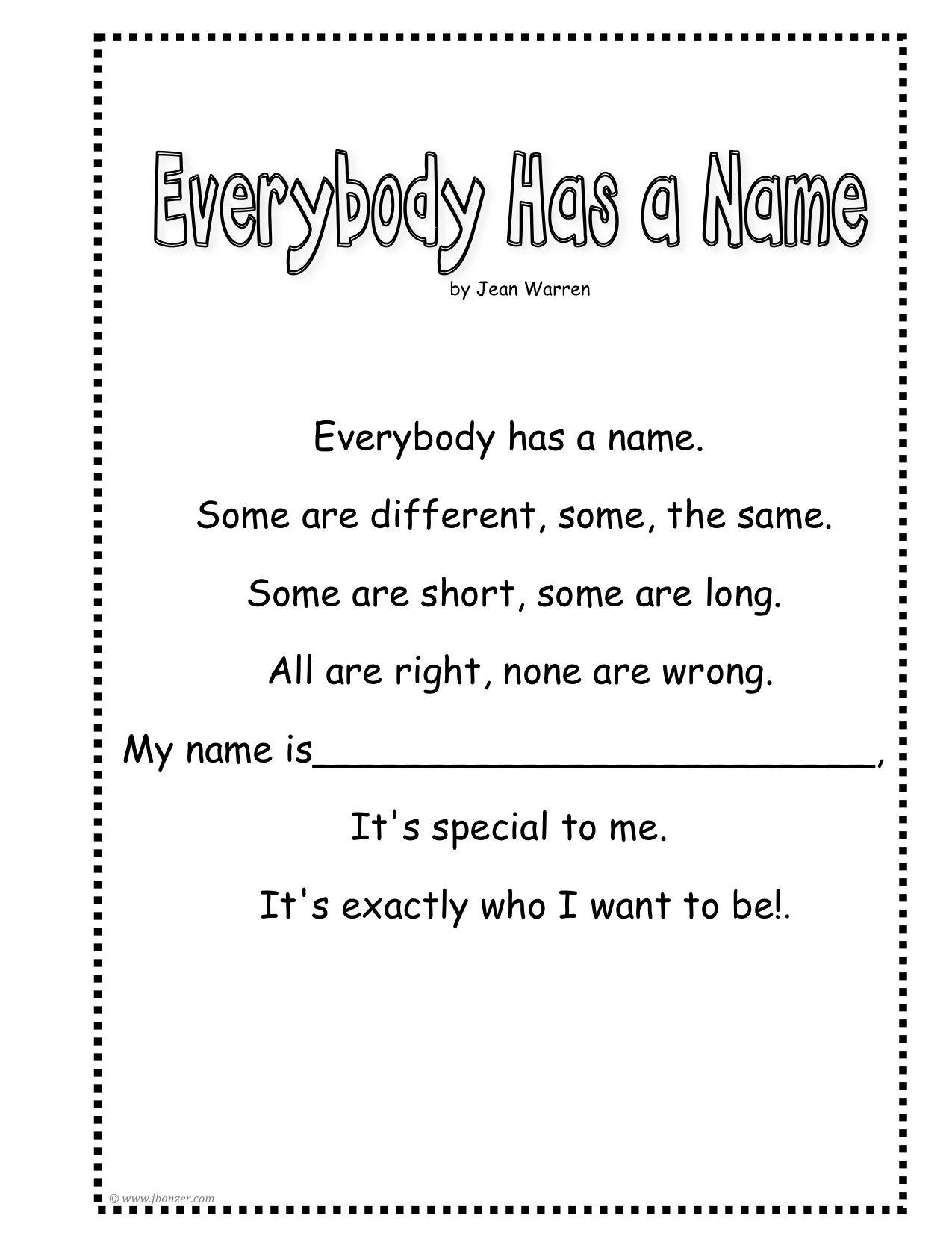 Preschool Book About Names