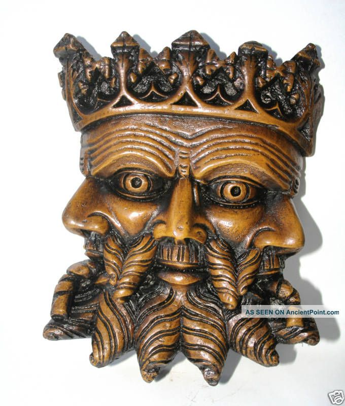 Trinity Face Medieval Reproduction Cathedral Carving Ornament Collectable Gift