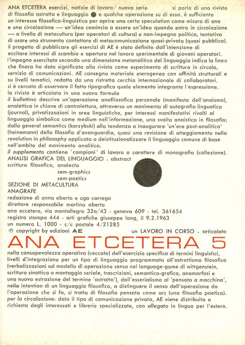 ANA ETCETERA, n. 5, 1963