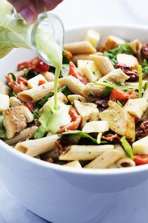 Chicken Penne Salad with Creamy Parmesan Dressing   Creme de la Crumb
