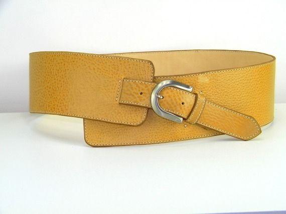 Large ceinture Femme en CUIR jaune grainé taille 85 90   accessoires ca11cc0ef6d