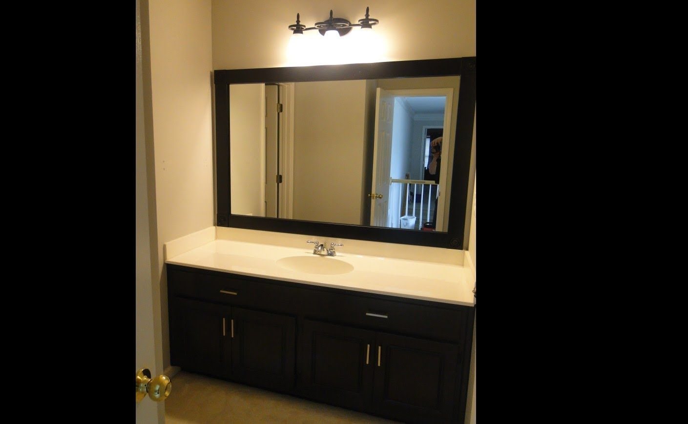 bathroom makeover framing mirror and painting cabinets diy painting bathroom cabinets. Black Bedroom Furniture Sets. Home Design Ideas