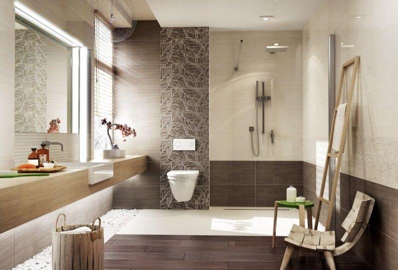 salle de bain beige et gris marron avec carrelage à motifs et ...