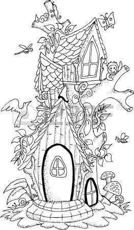 Stock Vector Színező House Colouring Pages Fairy Tree Houses