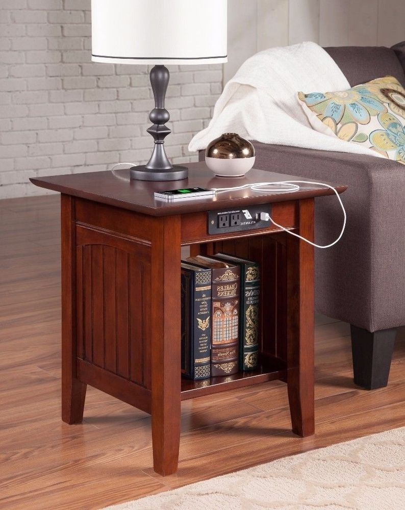 Nantucket Vintage Style End Table With Usb Charging Port Walnut