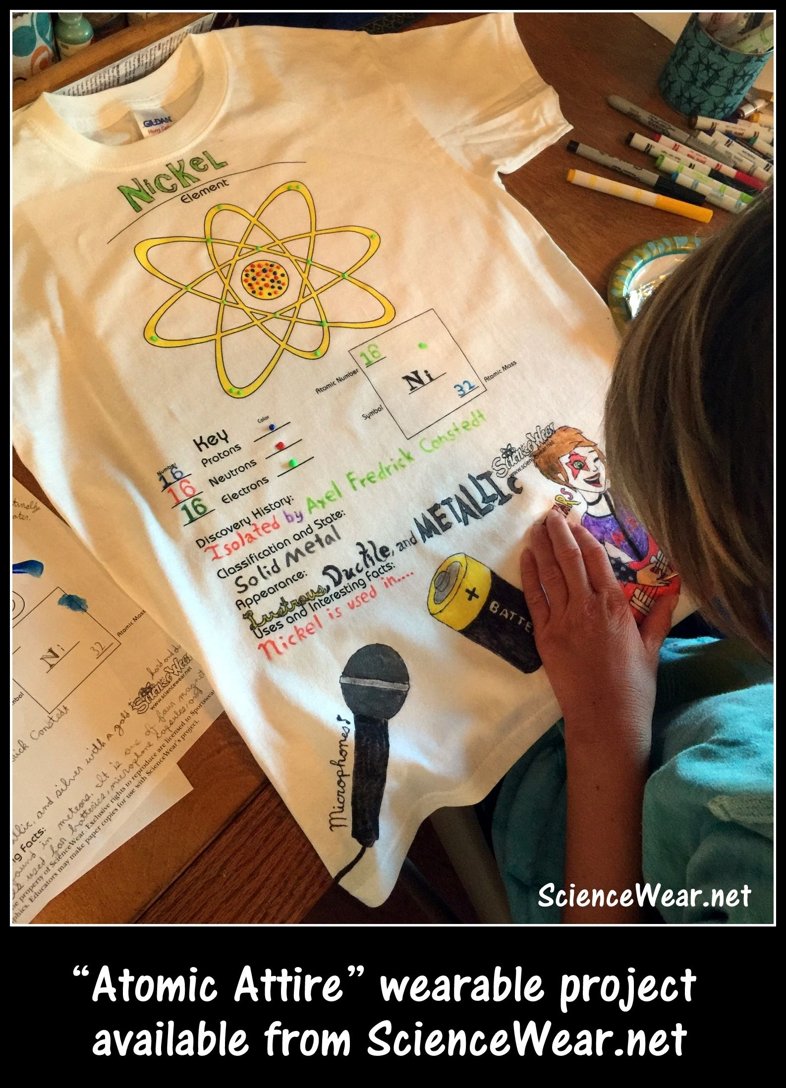 8th Grader Putting Finishing Touches On Her Atomic Attire