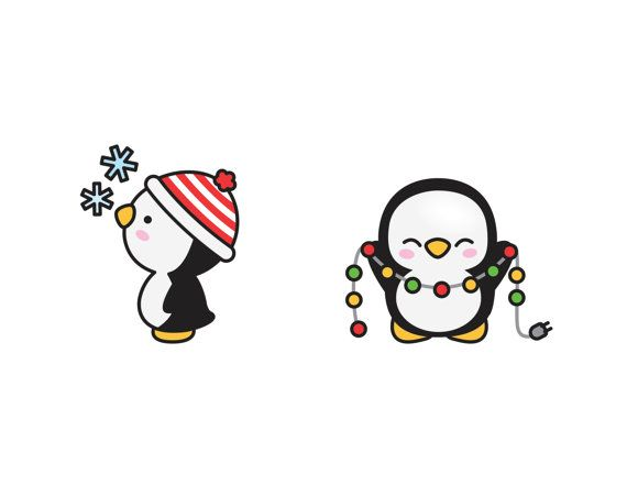 premium vector clipart kawaii christmas penguins cute. Black Bedroom Furniture Sets. Home Design Ideas