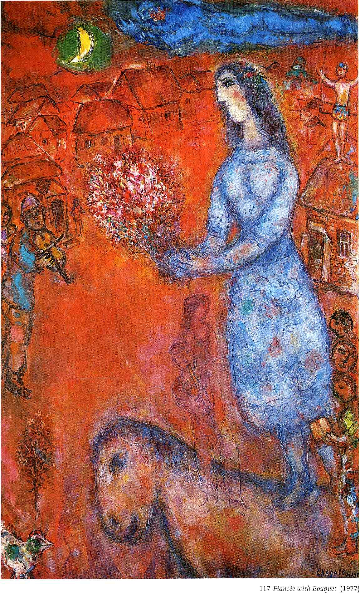Fiancee with bouquet - Marc Chagall. #art #artists #chagall