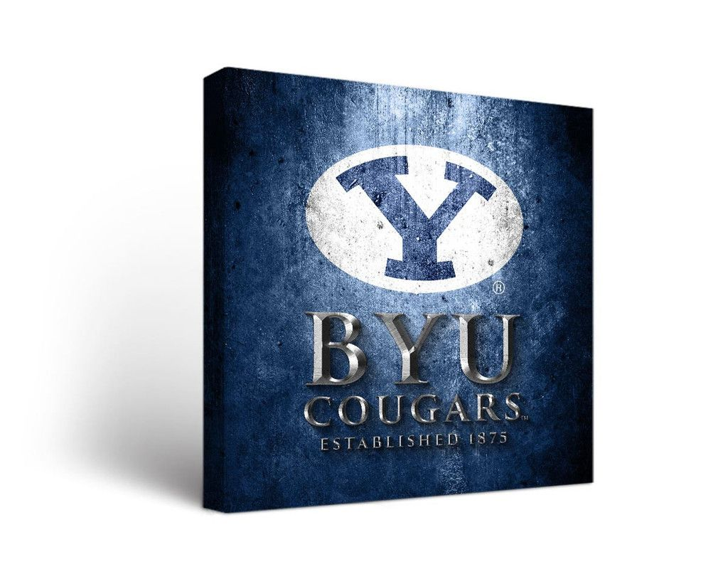 Byu Cougars Aged Metal Square Canvas Wall Art Square Canvas Canvas Wall Art Byu Cougars