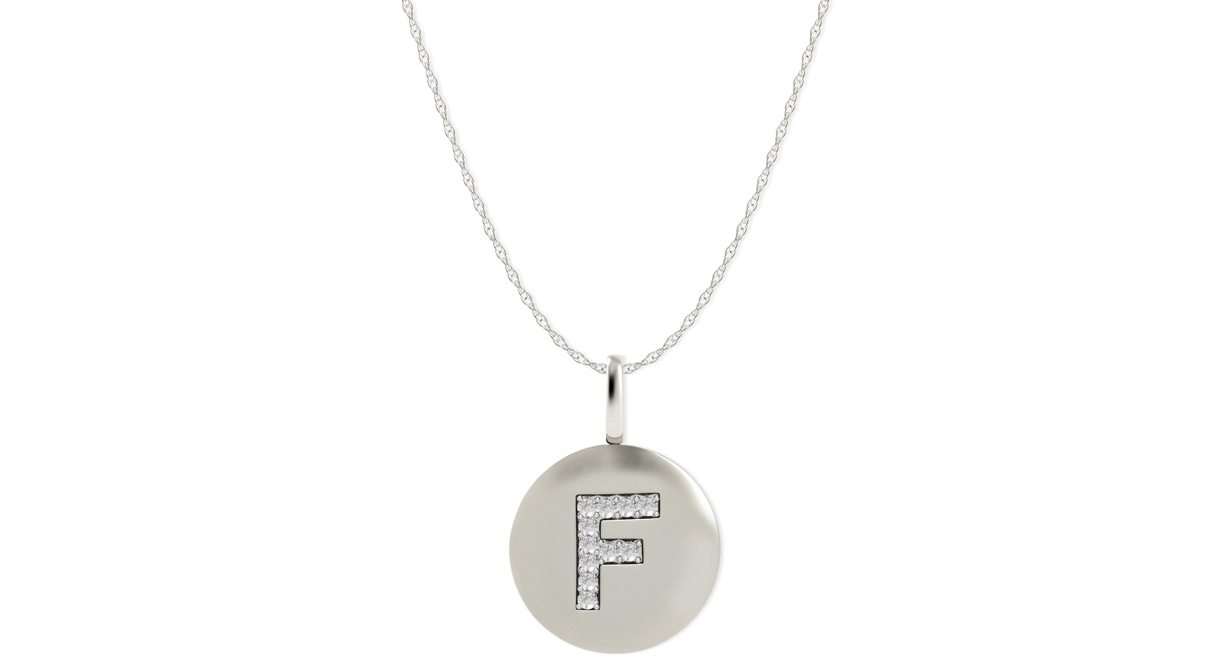 14k White Gold Necklace, Diamond Letter F Disk Pendant (1/10 ct. t.w.)