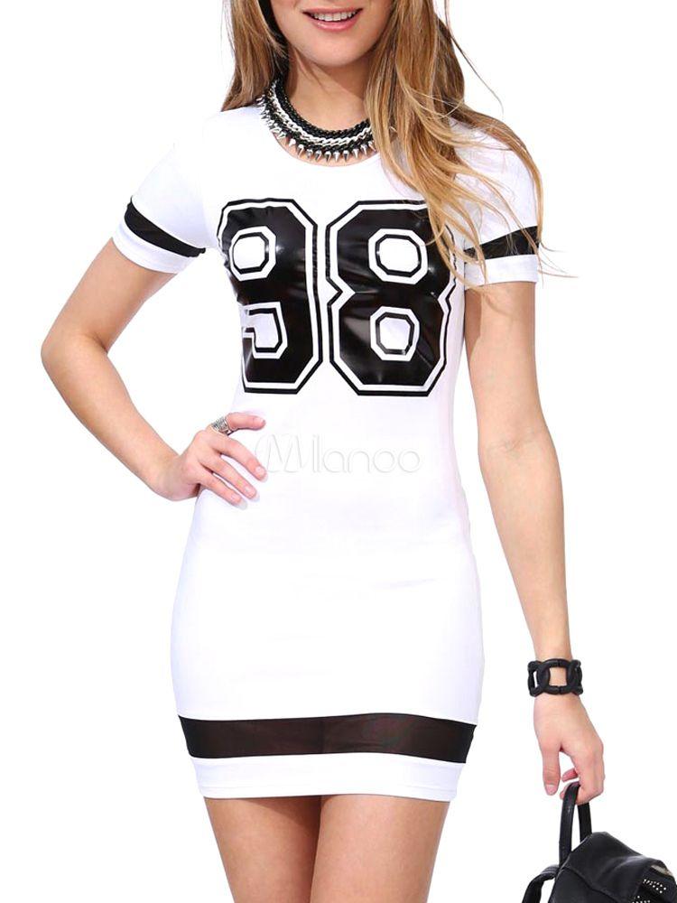 Vestido corto con manga corta y estampado de letras - Milanoo.com 6cdebe243256