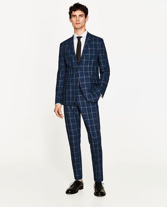 bf03dec42d Image 1 of WINDOWPANE CHECKED SUIT TROUSERS from Zara ...