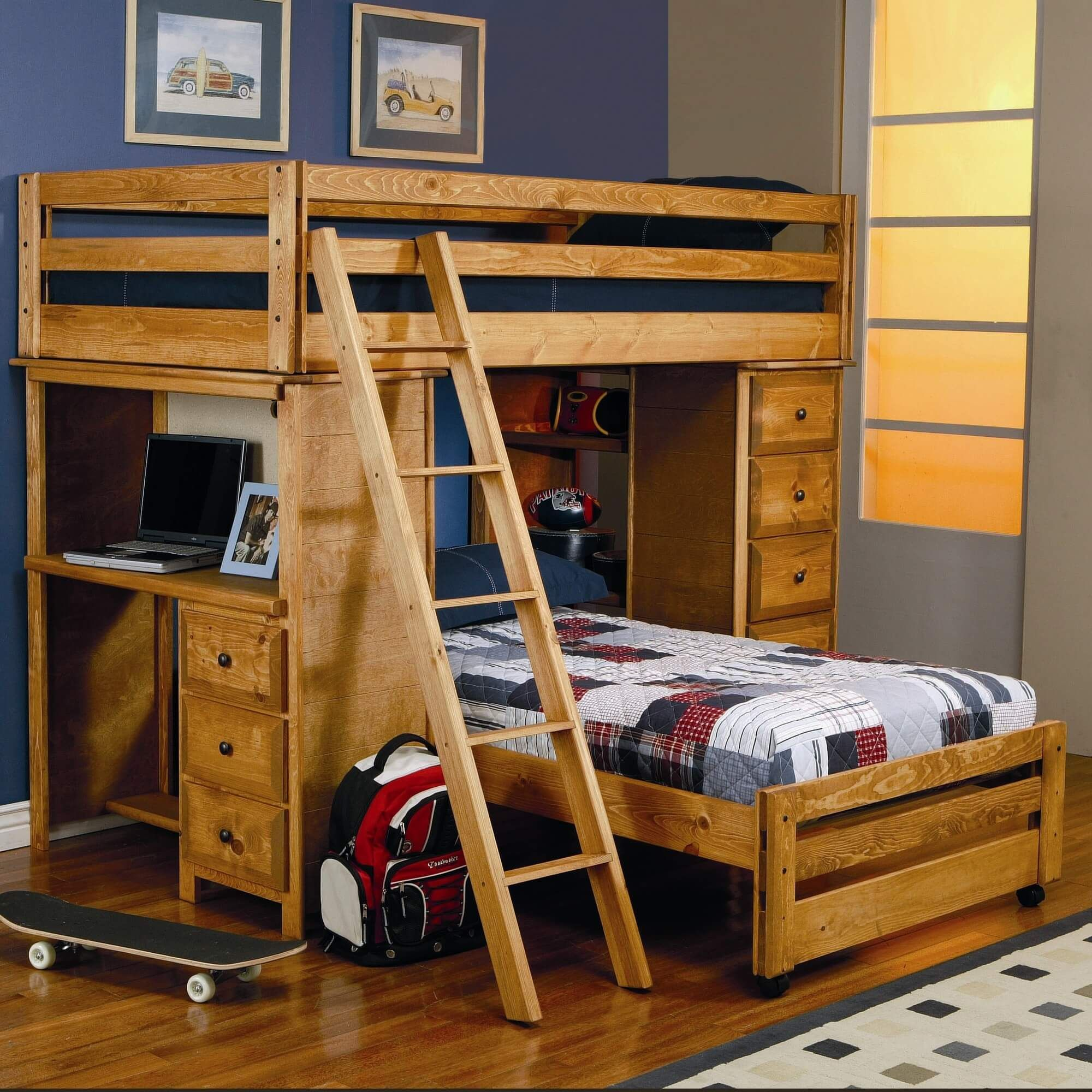 Coaster Wrangle Hill Twin Over Loft Bed With Built In Desk Fine Furniture