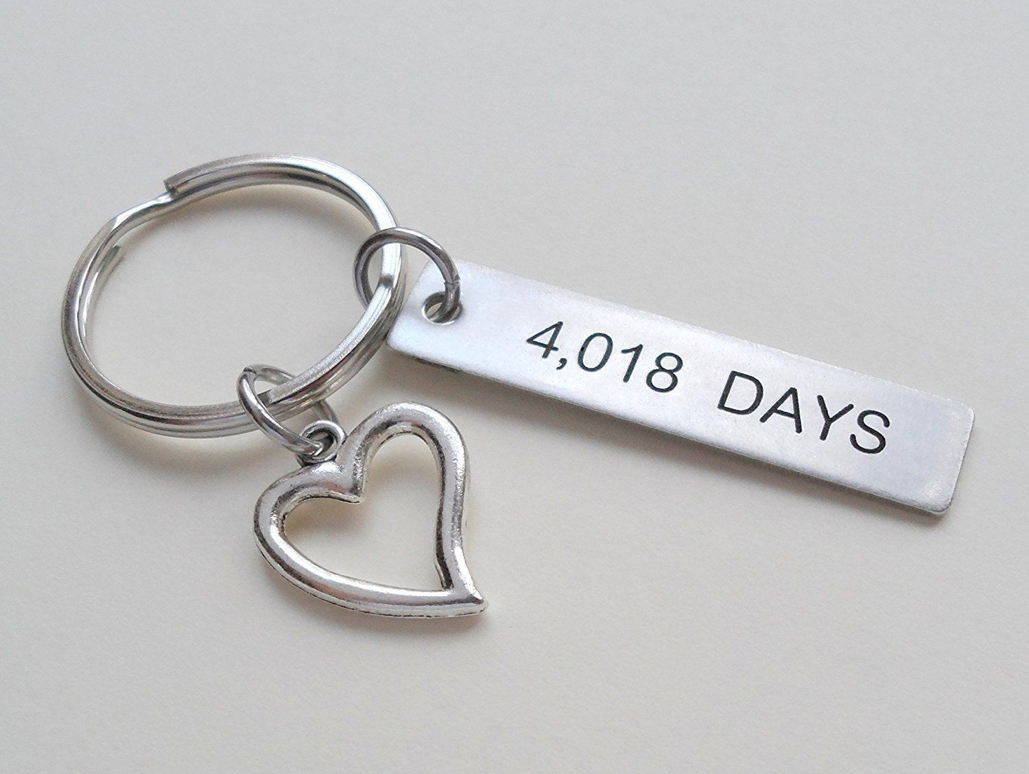 11 year anniversary gift stainless steel tag keychain