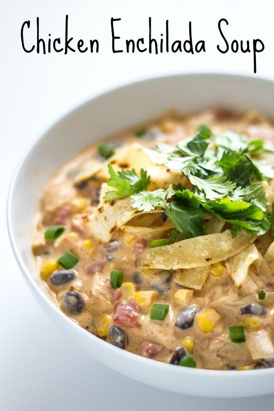 30 Minute Creamy Chicken Enchilada Soup - The Wanderlust Kitchen