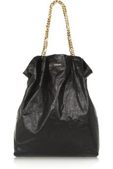 Lanvin Paper Bag textured-leather tote