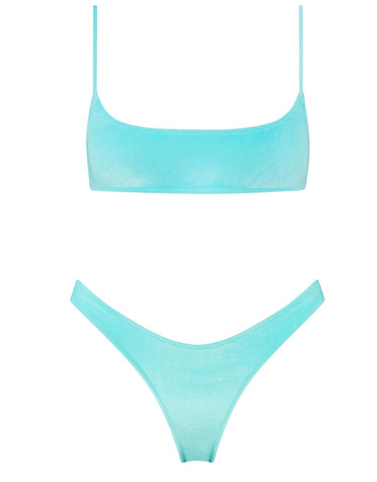6c18e0a7f45d85 Bright sky blue Italian velvet scoop crop bikini. Strappy crop top with a  matching high