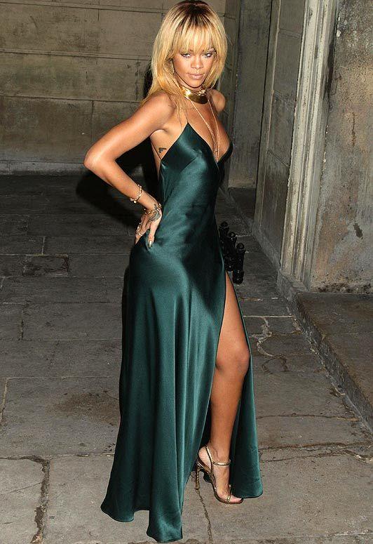 Rihanna Bottle Green Satin Gown Moda Pinterest Green